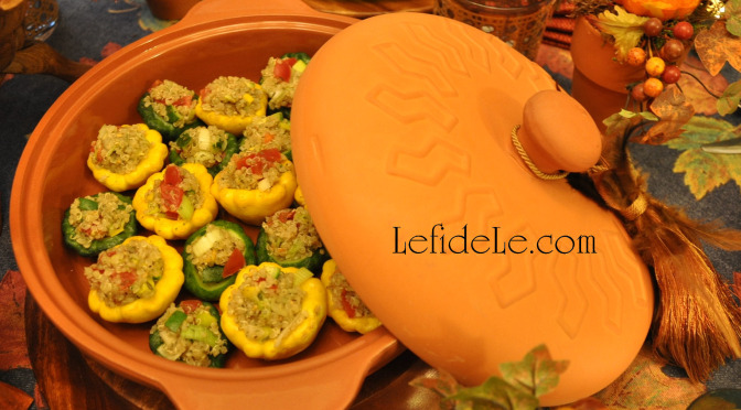 "Quinoa Pilaf Stuffed Patty Pan ""Mini"" Squash Recipe (Healthy, Gluten-Free & Dairy Free)"