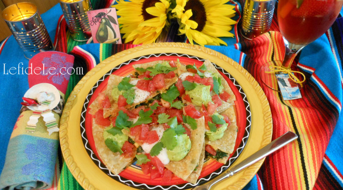 Healthy Tex-Mex Cilantro Chicken Spinach Quesadilla Recipe (Dairy, Red Pepper, Corn, & Gluten-Free) Easy Appetizer for Cinco de Mayo Fiesta