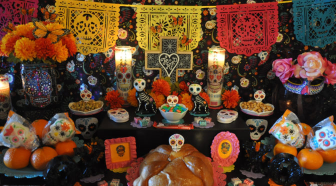 Celebrate Halloween with Colorful Day of the Dead (Dia de los Muertos) Party Décor Inspired by Traditional Ofrenda Symbolism (+ DIY Craft Tutorials & Candy Recipe)