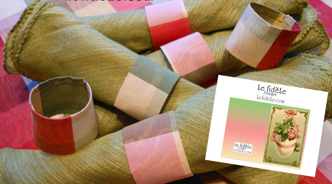 Easy DIY Taffeta Fabric Napkin Rings & No Sew Tablecloth Craft Tutorial & Free Printable Easter Egg Card or Invitation